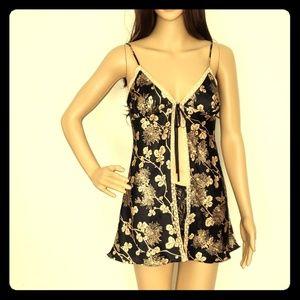 Victoria's Secret Black Floral Print Babydoll XS